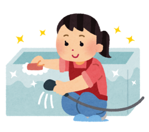 風呂をピカピカにしている女性