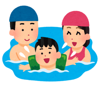 プールで幸せそうな親子