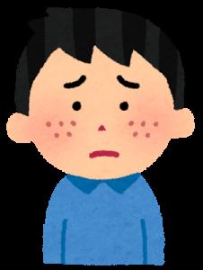 ニキビができて悲しい少年